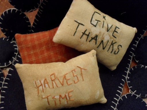 Handmade 4 inch pillows. Different fall sayings
