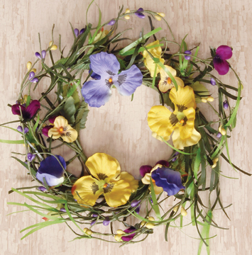 Butterfly Pansy Wreath 12""