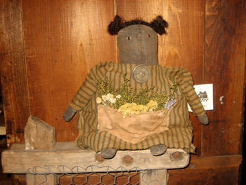 Handmade Primitive Doll with Flowers