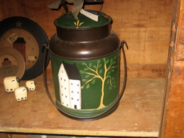 Hand Painted Large Green Milk Can