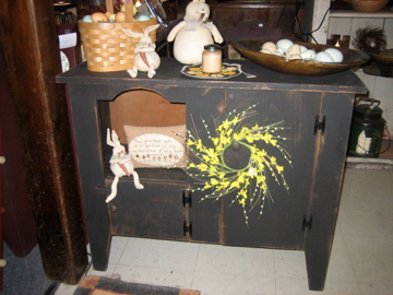 Black Primitive Cabinet Table-Made in NH