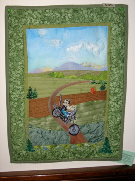 Handmade Dog on Motorcycle Landscaping Quilt