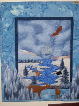Handmade Moose Scene Landscaping Quilt