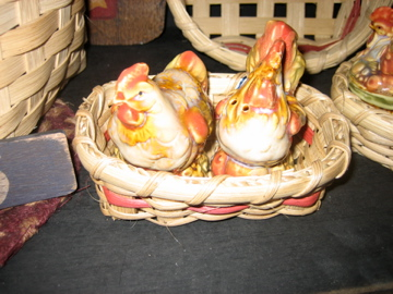 Rooster Salt & Pepper Shakers in a handmade in NH basket
