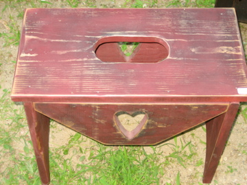 Handmade Burgundy Bench with Heart