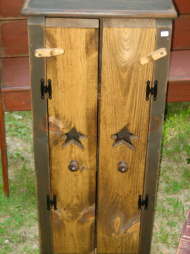 Two Door Jelly Cupboard Primitive Black and Stain Handmade