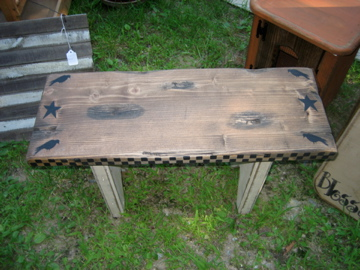 Small Bench with Crows and Checkerboard Handmade