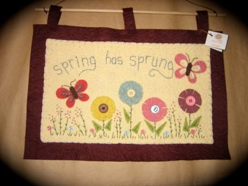 spring wool felt wall hanging