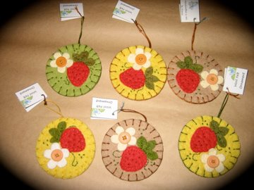 Large wool felt ornaments....Strawberries