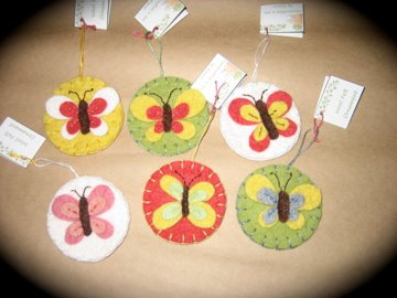 Small wool felt ornaments....butterflies