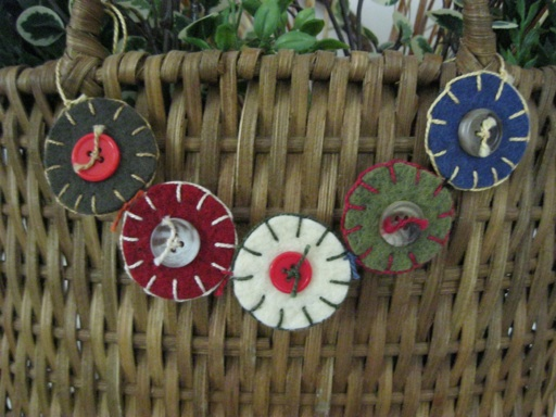 Wool Felt Button Garland-Handmade in NH