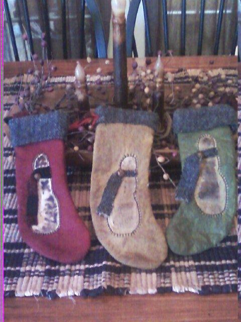 Handmade Prim stockings 4x9 1/2