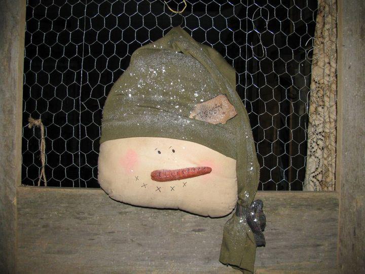 Handmade Snowman head door greeter