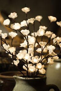 Cream Blossom Lighted Branch - Electric - 39""