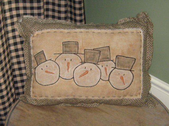 Snowmen Head Pillow  Handmade