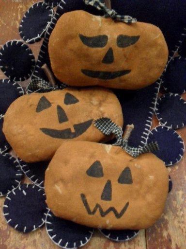 Handmade pumpkin faces bowl fillers