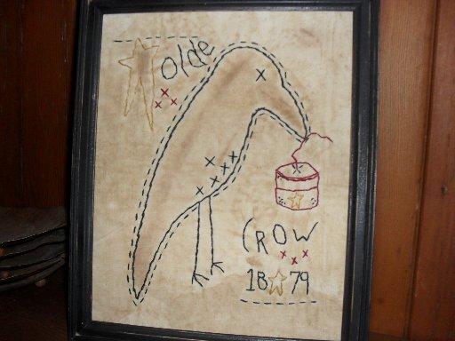 Handmade 8x10 stitchery framed Old Crow