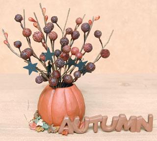 Autumn Resin Pumpkin w/Sprig