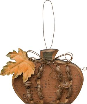 """Jute Stitched Pumpkin Ornament - 4-1/2"""""""