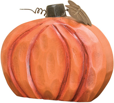 "Carved Wood Pumpkin - 4-1/2"""