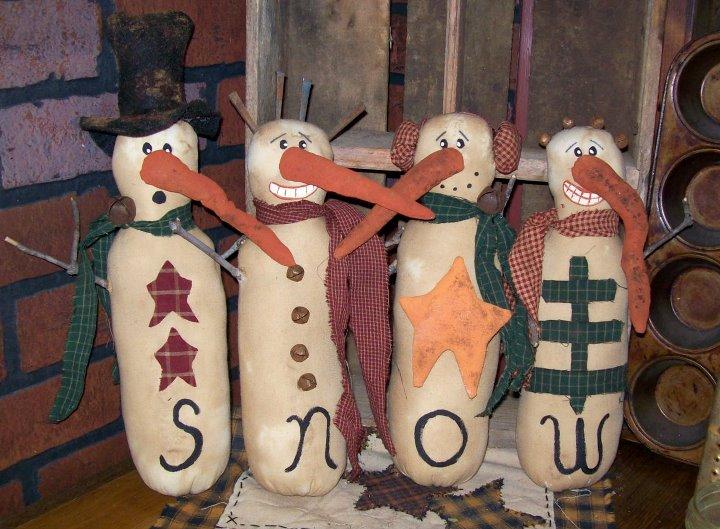 "Whimsical Snowman 14"" Handmade"