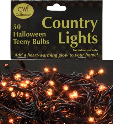 Orange Teeny Lights - 50 Count - Black Cord