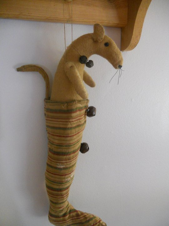 Handmade mouse in fabric stocking