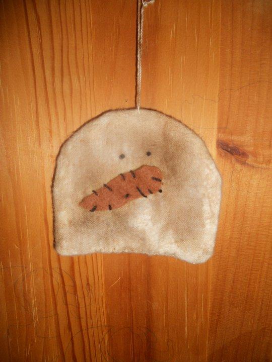 Handmade Small Snowman Head ornament