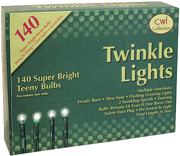 140ct Teeny Bulb Multiple Function Lights with Brown Cord