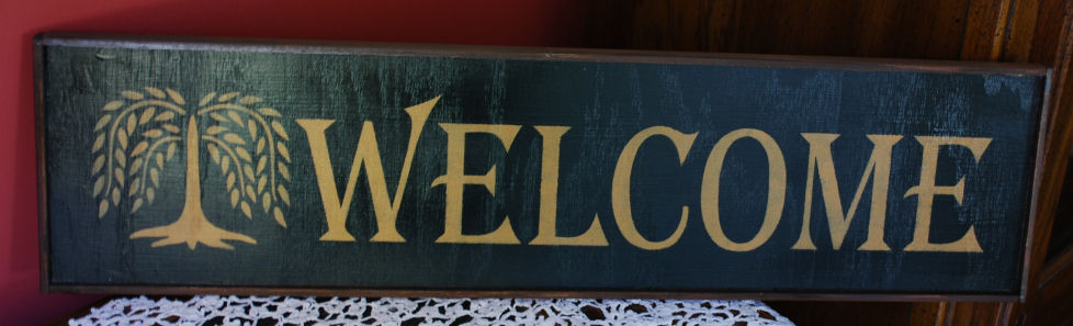 """Welcome"" Primitive Handmade Sign"