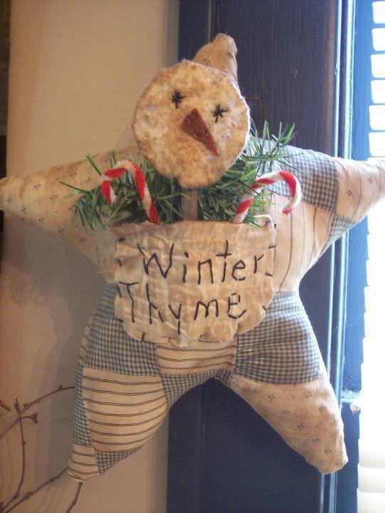 Vintage Winter Thyme Quilt Star - Handmade