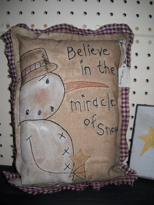 Believe in the Miracle of Snow Pillow - Handmade